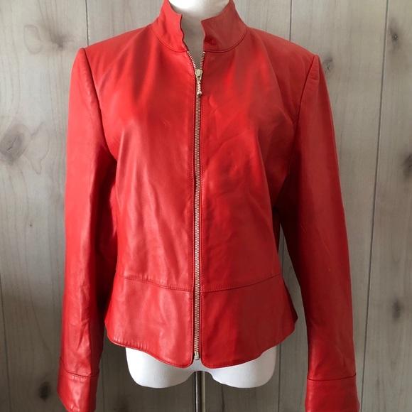 Austin Reed Jackets Coats Austin Reed Soft Red Leather Jacket Nice Poshmark